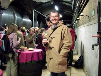 My husband in Vinag wine cellar.