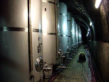 Modern tanks in Vinag wine cellar.