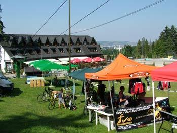 Mountain biking teams at the Pohorje Snow Stadium