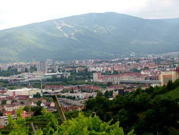 Maribor from vineyards just north of the city